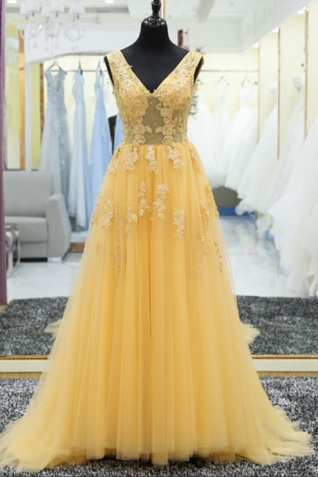 P1195 V Neck Lace Applique A Line Lace Up Back Yellow Long Prom Gown Formal Evening Party Dress,A Line Long Tulle Yellow Lace Prom Dress,A Line Long Tulle Lace Evening Dress