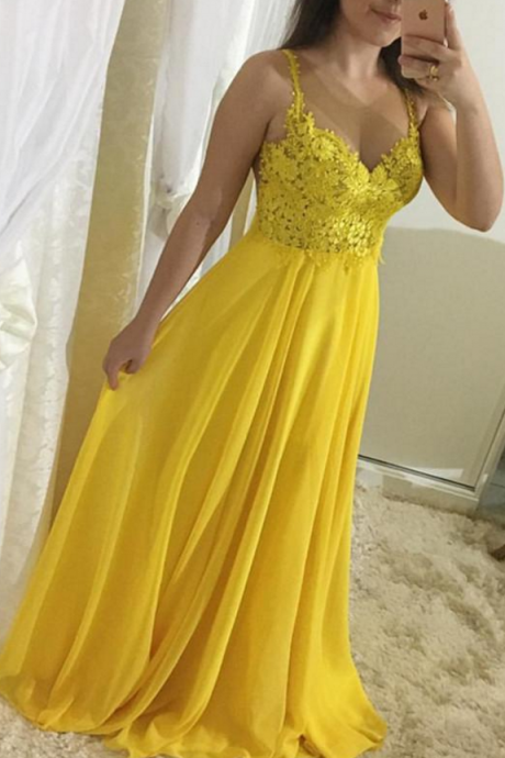 P1197 Yellow Lace and Chiffon Straps Prom Dresses , A-line Formal Gowns, Party Dresses,Spaghetti Straps Long Chiffon Yellow Lace Prom Dress,A Line Long Chiffon Simple Elegant Lace Yellow Evening Dress