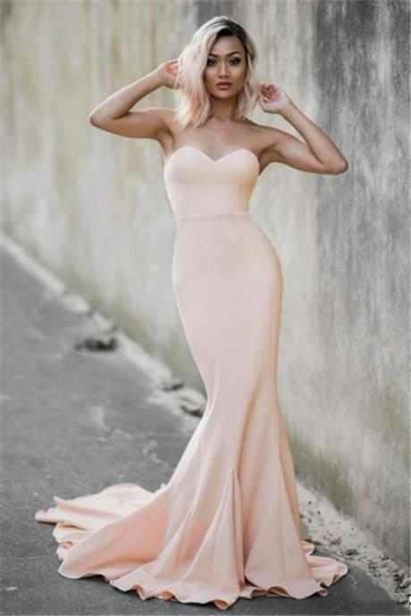P1200 Pink Mermaid Bridesmaid Dress,Sweetheart Formal Dress,Mermaid Blush Wedding Guest Dress,Simple Mermaid Evening Dress,Sexy Strapless Long Satin Pink Mermaid Evening Dress