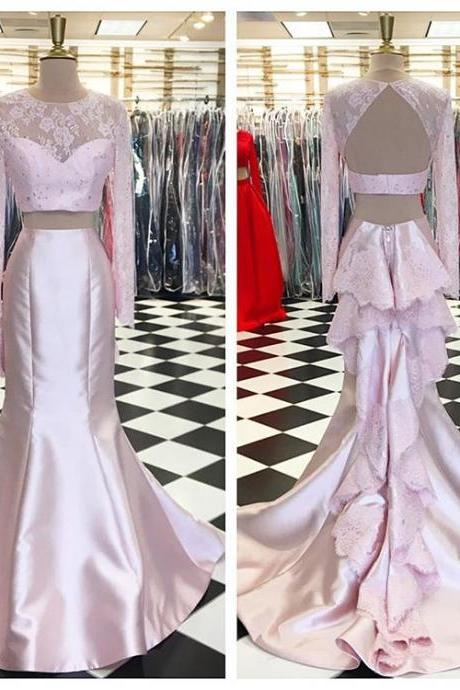 P1201 Pink Two Piece Prom Dress, Long Sleeve Mermaid Formal Gown,Backless Party Dress,Two Piece Long Sleeves Pink Mermaid Lace Evening Dress,Sexy Two Piece Lace Mermaid Pink Prom Dress