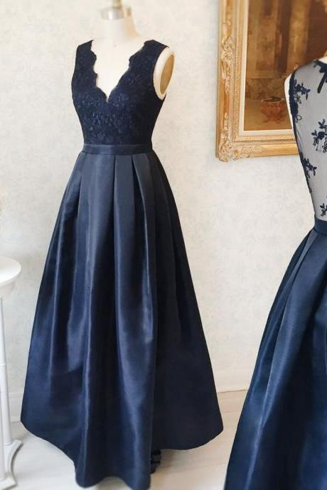 P1202 Plunge V Sleeveless Long Satin Navy Blue Lace Evening Dress Featuring Laced Bodice and Sheer Back,V Neck Simple Elegant Long Satin Navy Blue Lace pROM dRESS