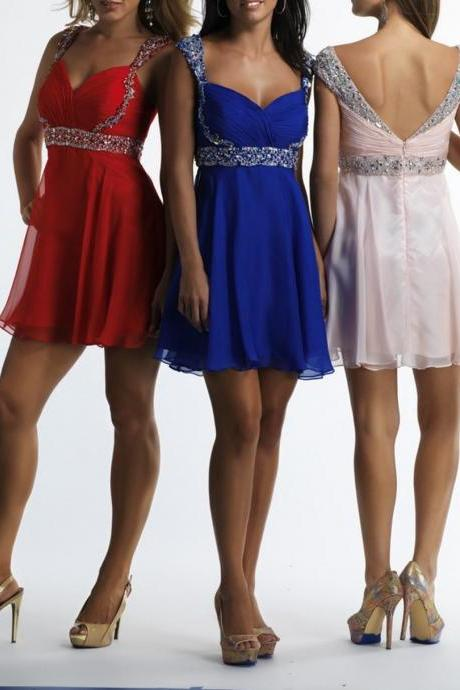 F703 V-back Homecoming Dress, Sexy Short Homecoming Dresses, Blue Homecoming Dress, Light Pink Homecoming Dress, Red Homecoming Dress, Short Prom Dress, Cap Sleeve Beaded Homecoming Party Dress,Homecoming Dress,Cocktail Dress,Bridesmaid Dress
