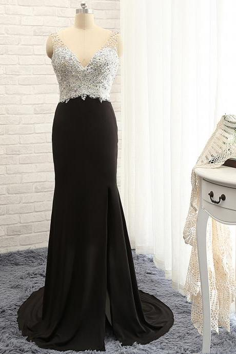 P1203 V Neck Top Beading Sheath Black Sexy Evening Dress with Side Split,Long Sexy Black Beading Side Split Prom Dress,Long Black Sexy Beading Party Dress
