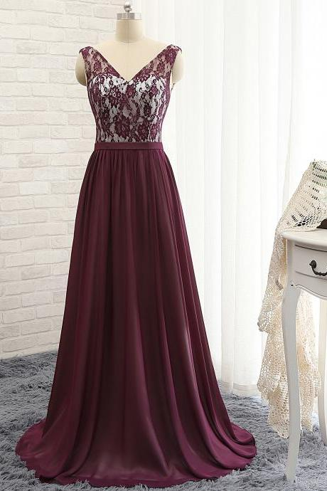 P1204 V Neck Cap Sleeves A Line Long Chiffon Purple Lace Prom Dress,Long Chiffon Top Lace A Line Purple Evening Dress Mother of the Bride Dress