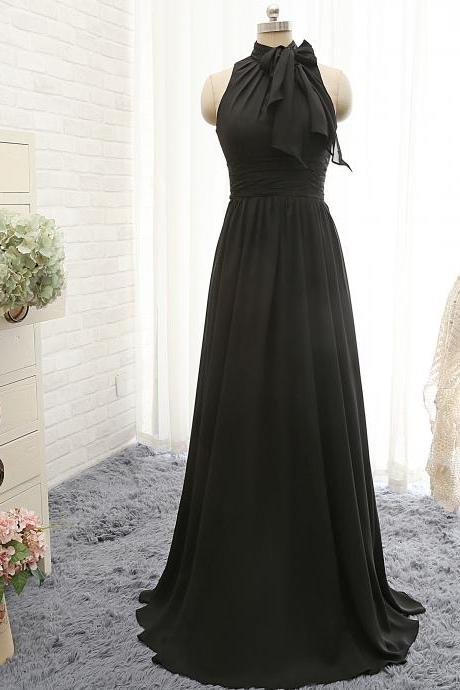 P1205 A Line High Neck Long Chiffon Black Sexy Evening Dress,A Line High neck Long Chiffon Black Sexy Prom Dress
