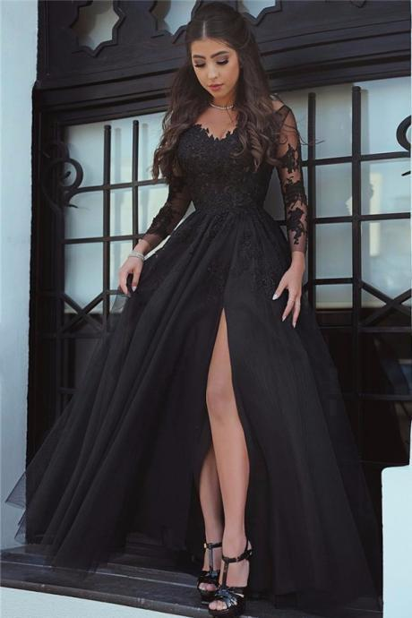 F705 Glamorous Long Sleeve Black Slit Lace Evening Dress, Sexy Black Prom Dress, Sexy Evening Dress, Black Formal Dress, Slit Prom Dress, Long Sleeves Prom Dresses,Long Sleeve Dress,Prom Dress,Evening Dress