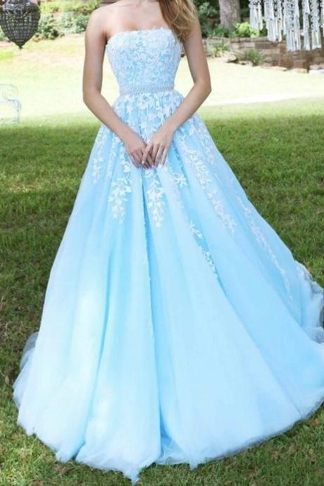 F709 Beaded Tulle Senior Prom Dress, Lace Prom Dress, A-line Prom Dresses, Strapless Prom Dress, Blue Prom Dress,Prom Dress,Evening Dress