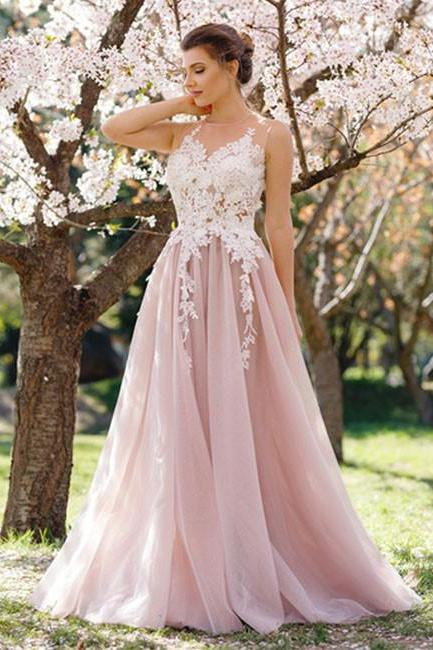 F710 Charming A-Line Round Neck Sleeveless Pink Tulle Long Prom Dress with Apliques, Modest Prom Dress, Elegant Prom Evening Dress, Prom Dresses,Prom Dress,Evening Dress