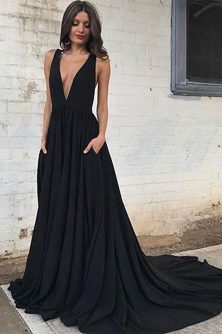 P1206 Sexy Black V Neck Long Prom Dress with Sweep Train,Open Back Evening Dress,Beautiful Party Dress,Sexy Backless Long Black Evening Dress,A Line Long Sexy Black Backless Prom Dress