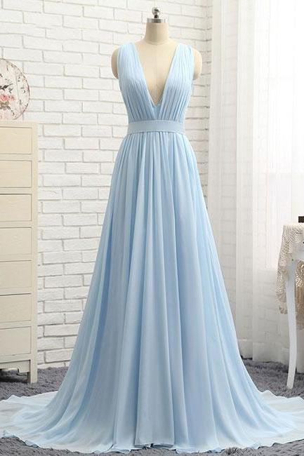 P1208 Simple Light Blue V-Neck Long Chiffon Prom Dress with Train,A-Line Sleeveless Evening Dress,2018 Prom Dress,A Line Long Blue Chiffon Sexy V Neck Prom Dress,A Line Long Baby Blue Chiffon Simple Cheap Evening Dress