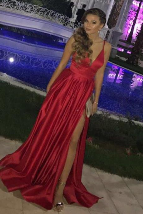 P1210 red prom dress,long formal gowns,leg slit prom dress,sexy long evening gowns,satin bridesmaid dresses,a line long red satin sexy prom dress,long red satin simple elegant party dress