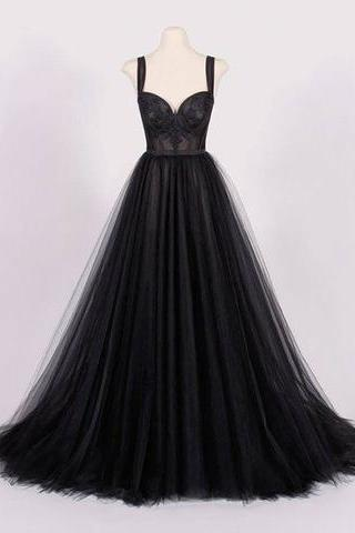 P1230 Newest Black Sweetheart Neck Tulle Prom Dress,Black Evening Dress,A Line Top Lace See Through Black Tulle Prom Dress,Sexy Spaghetti Straps Long Black Tulle Evening Dress