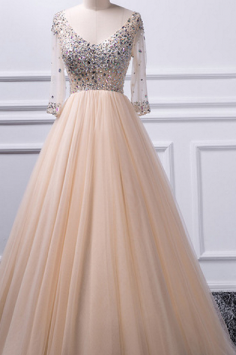 P1237 A-line V-neck beaded top Tulle Prom Dress,A Line Long Tulle Champagne Beading Prom Dress with Half Sleeves,V Neck Top Beading Long Champagne Tulle Evening Dress with Half Sleeves