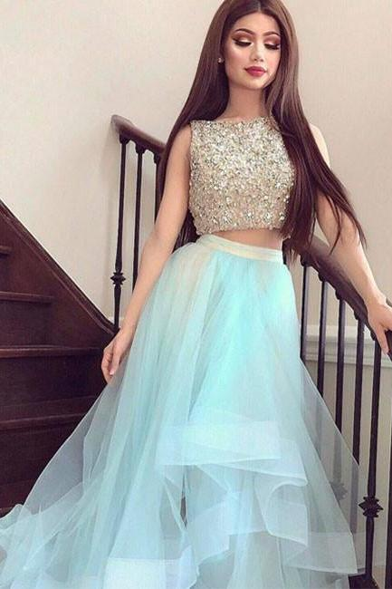 P1241 Charming Blue Beaded Top Two Pieced Prom Dress,Tulle Long Evening Dress,Homecoming Dresses,Two Piece Top Beading A Line Long Tulle Prom Party Dress