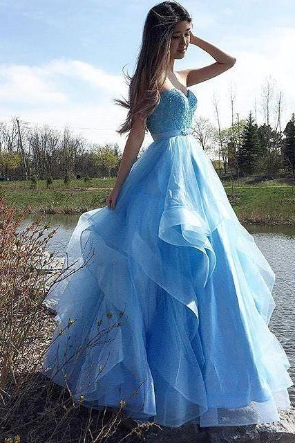P1243 Charming Prom Dress, Blue Appliques Evening Dress, Sexy Tulle Prom Dresses,A Line Long Tulle Blue Prom Dress,Elegant Top Beading Long Tulle Evening Dress