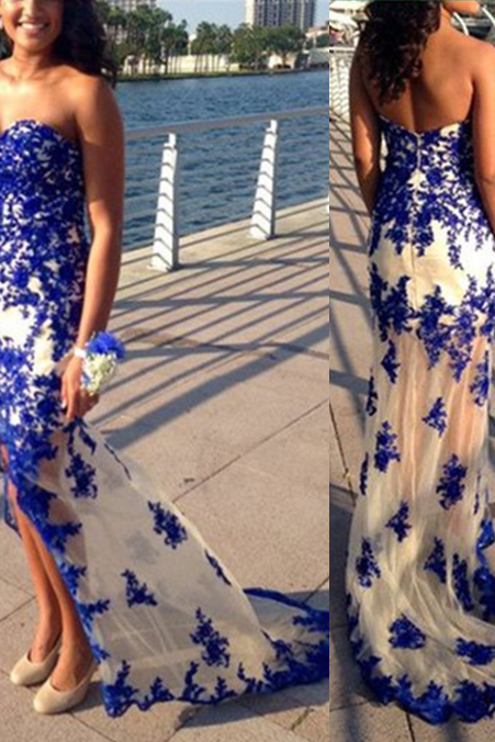 P1244 Charming Prom Dress,Sweetheart Prom Dress,Appliques Prom Dress,Mermaid Evening Dress,Sexy Sheath Long Royal Blue Tulle Lace Evening Party Dress