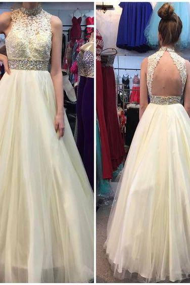 P1247 Charming Prom Dress,Tulle Prom Dress, Beading Prom Dress,Appliques Evening Dress,High Neck A Line Long Tulle Yellow Lace Prom Dress