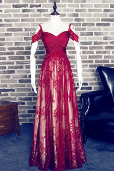 P1248 Charming Red A-line Sweetheart Spaghetti Straps Lace Prom Dress,Off the Shoulder A Line Long Lace Burgundy Evening Dress,A Line Long Burgundy Lace Sexy Formal Prom Dress