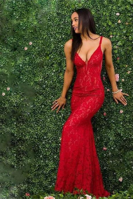 P1249 Charming Red Lace Spaghetti Straps Prom Dress, Gorgeous Mermaid Prom Dresses,Spaghetti Straps Sexy Red Lace Mermaid Evening Dress,Deep V Neck Long Sexy Red Mermaid Prom Party Gown