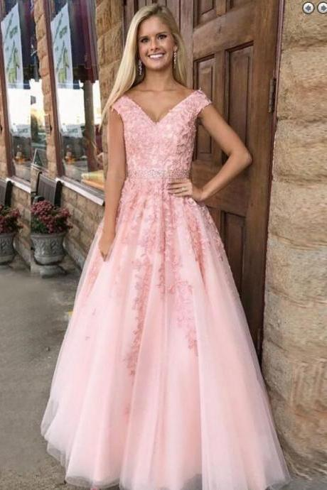 P1251 Charming Tulle Appliques Prom Dress, Elegant Pink Tulle Formal Prom Dresses, Long Evening Gown,Cap Sleeves V Neck A Line Long Tulle Lace Pink Prom Dress
