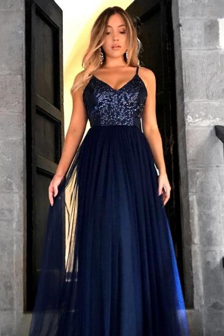 P1252 Charming V Neckline Open Back Prom Dress, Sexy Spaghetti Straps Long Prom Dresses, A Line Evening Dress,Spaghetti Straps Top Sequin Navy Blue Long Tulle Simple Elegant Prom Evening Dress