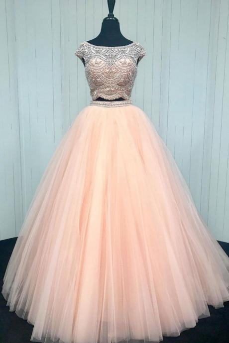 P1254 PINK BEADS TWO PIECES TULLE LONG PROM DRESS, PINK FORMAL DRESS,Top Beading Ball Gown Long Tulle Elegant Prom Dress