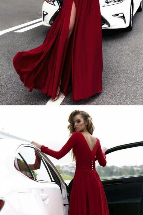 P1256 Sexy Long Sleeves A Line Elegant Long Chiffon Red Prom Dress with Side Split,Deep V Neck Red Long Chiffon Evening Dress with Long Sleeves,Sexy Side Split Long Red Party Dress