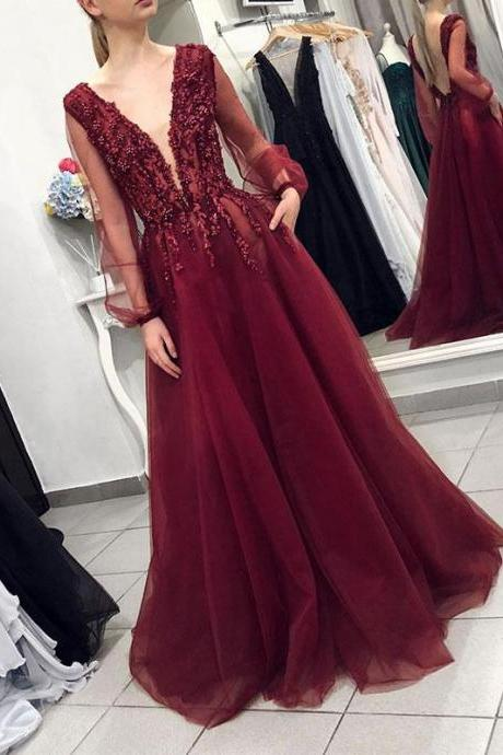 Burgundy V-Neck Beaded Tulle Long Sleeves Evening Dress,2019 Prom Dress