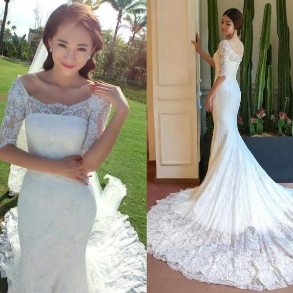 XW58 Mermaid Wedding Dress, Long Sleeve Wedding Dress, Lace Wedding Dress, Boat Neck Wedding Dress, Elegant Wedding Dress, Cheap Wedding Dress, Chapel Train Wedding Dress