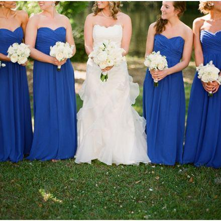 F47 New Arrival Sweetheart Neck Royal Blue Chiffon Long Bridesmaid Dress