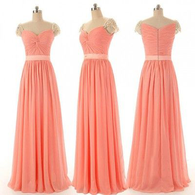 F48 Cap Sleeve bridesmaid dresses,chiffon bridesmaid dresses,long bridesmaid dresses,blush pink bridesmaid dresses