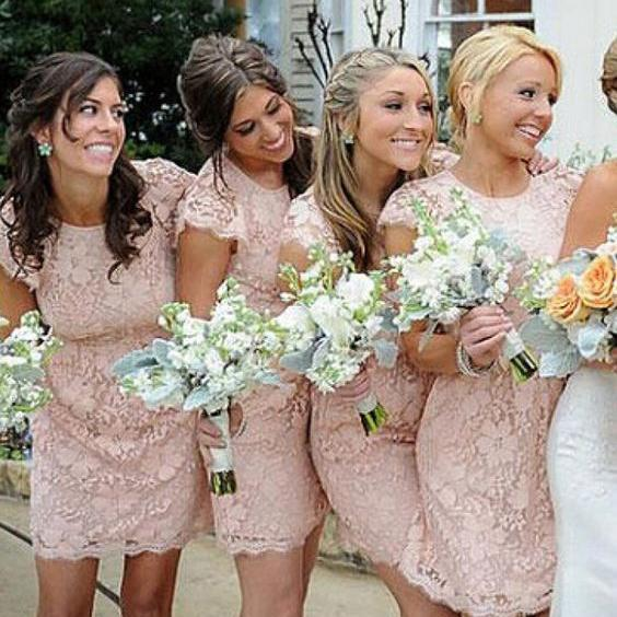 F50 Vintage Lace Bridesmaid Dresses with Cap Sleeves,Short Dresses for Bridesmaid on Summer Wedding