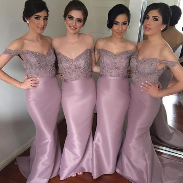 F51 Mermaid Off Shoulder Bridesmaid Dresses,Taffeta Skirt Long Bridesmaid Dresses
