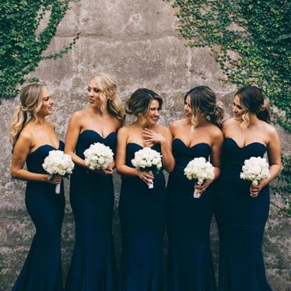 F142 Gorgeous Mermaid Long Navy Blue Strapless Bridesmaid Dress,Sweertheart Mermaid Prom Dress