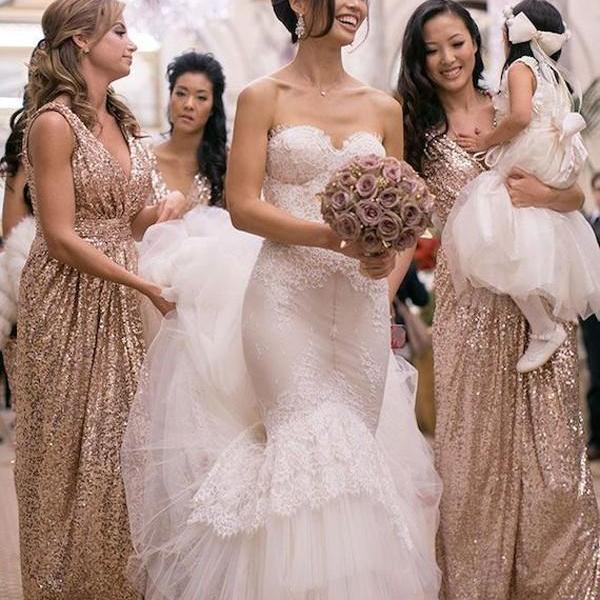 F145 Gorgeous V-neck Long Rose Gold Sequins Sparkly Bridesmaid Dress,Charming Gold Sequins Bridesmaid Dress