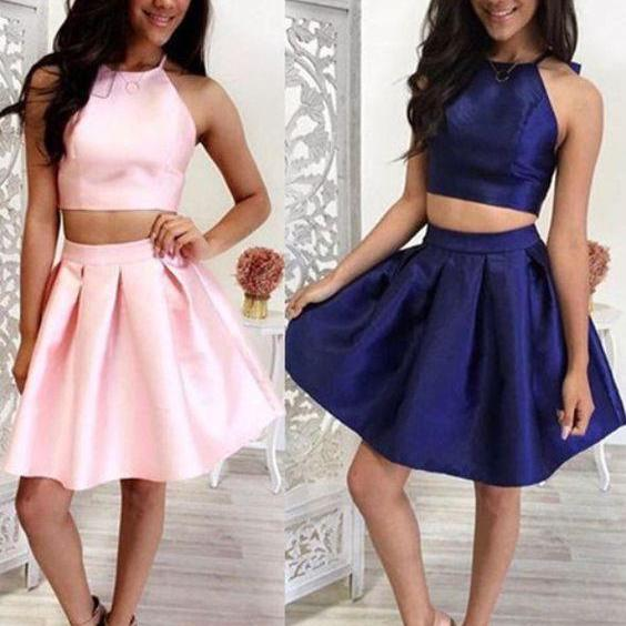 F146 Inexpensive Two Piece Short Pink Homecoming Dress Navy Homecoming Dress