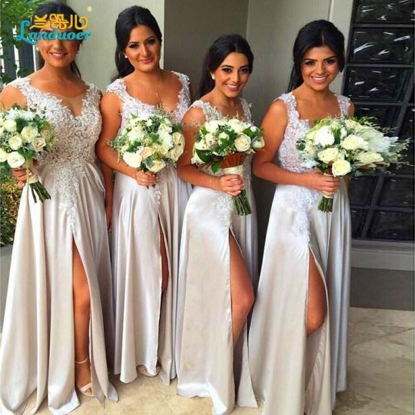 F215 Hot Cap Shoulder Lace long Bridesmaid Dress Long A Line V neck Front slit Wedding Formal Dress