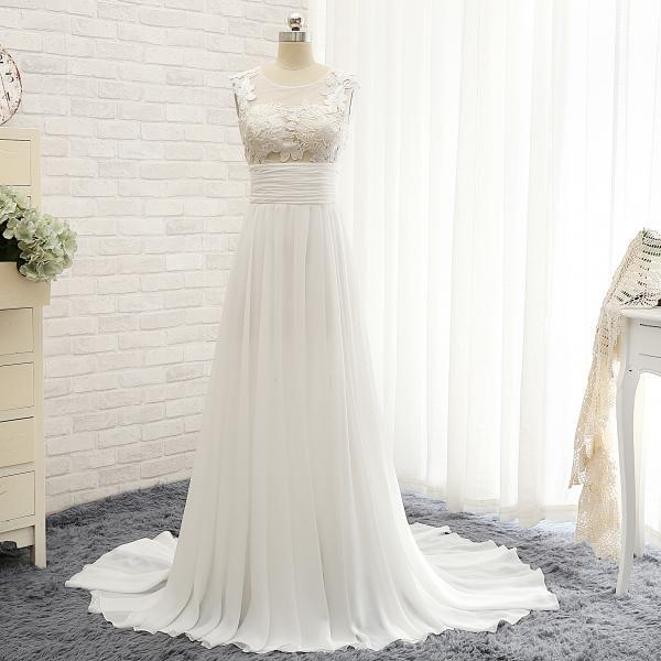 Sleeveless Sheer Lace Appliqués Chiffon A-line Wedding Dress