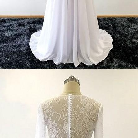 Two Piece Wedding Gown,Long Sleeves Lace Wedding Dress,Summer Chiffon Bridal Dress,Two Piece Long Chiffon Wedding Dress with Long Sleeves,Long Sleeves Long Chiffon Wedding Dress