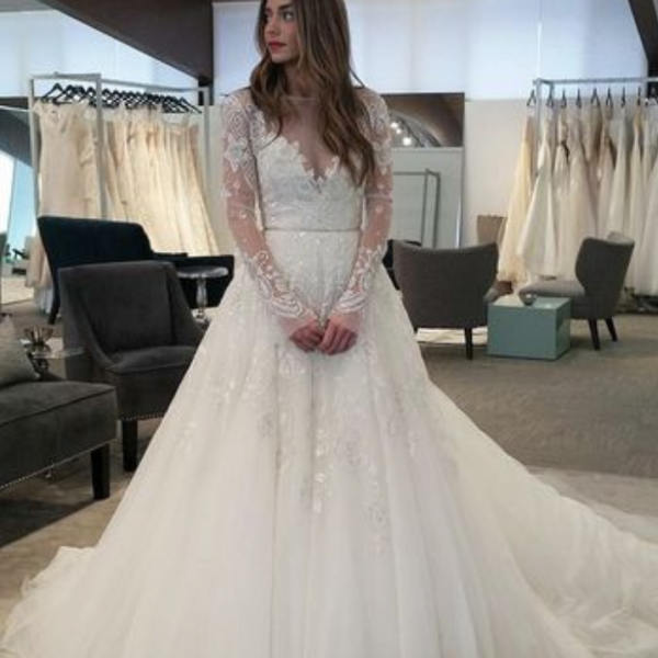 Long Wedding Dress,Tulle Wedding Dress,Long Sleeve Wedding Dresses,Bridal Dresses,A Line Long Sleeve Lace Wedding Dress