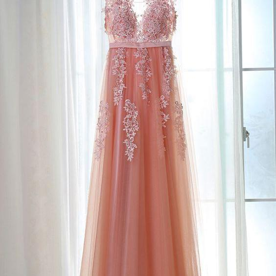 P1280 PINK V NECK TULLE LACE LONG PROM DRESS, BRIDESMAID DRESS,Deep V Neck Long Tulle Pink Lace Prom Dress,A Line Long Tulle Pink Lace Evening Dress,Elegant Simple Long Tulle Lace Bridesmaid Dress