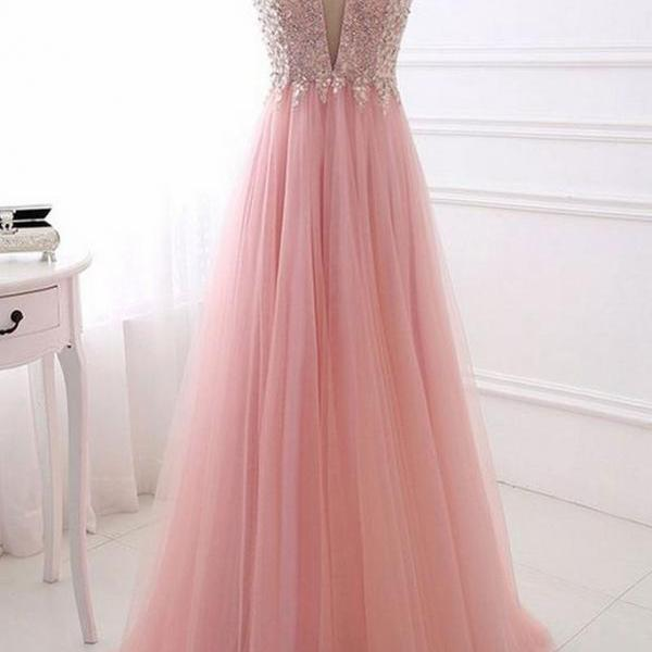 P1281 PINK V NECK TULLE LONG PROM DRESS, PINK EVENING DRESS,Cap Sleeves Deep V Neck Top Lace A Line Long Tulle Prom Dress,Long Tulle Pink Tulle Lace Evening Dress