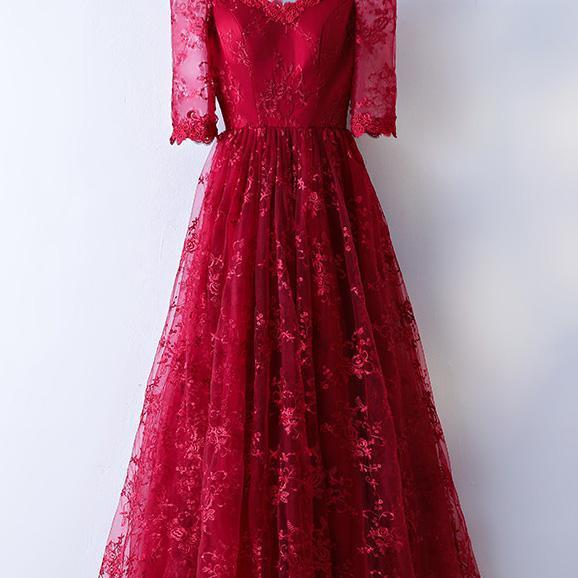 P1282 PRETTY BURGUNDY LACE LONG PROM DRESS, BURGUNDY LACE EVENING DRESS,Off the Shoulder A Line Long Burgundy Lace Prom Dress with Half Sleeves,Long Burgundy Lace Half Sleeves A Line Evening Dress