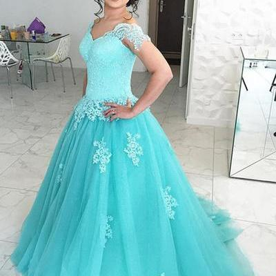 P1283 Princess mint lace cap sleeves long tulle winter formal prom dress, long V neck evening dresses,cap sleeves long blue tulle lace prom dress