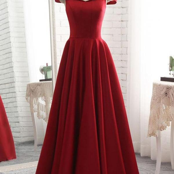 P1295 SIMPLE BURGUNDY OFF SHOULDER LONG PROM DRESS, BURGUNDY BRIDESMAID DRESS