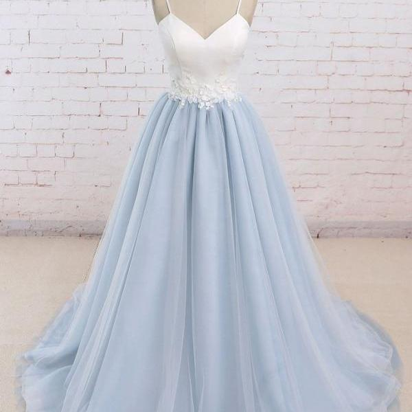 P1294 SIMPLE BLUE TULLE LONG PROM DRESS, TULLE WEDDING DRESS,Spaghetti Straps Long Tulle Blue Elegant Prom Dress