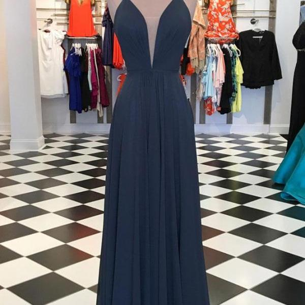 P1297 SIMPLE V NECK CHIFFON GRAY CHIFFON LONG PROM DRESS, EVENING DRESS,Deep V Neck A Line Long Chiffon Sexy Evening Dress,Long Chiffon Sexy V Neck Cheap Prom Party Dress