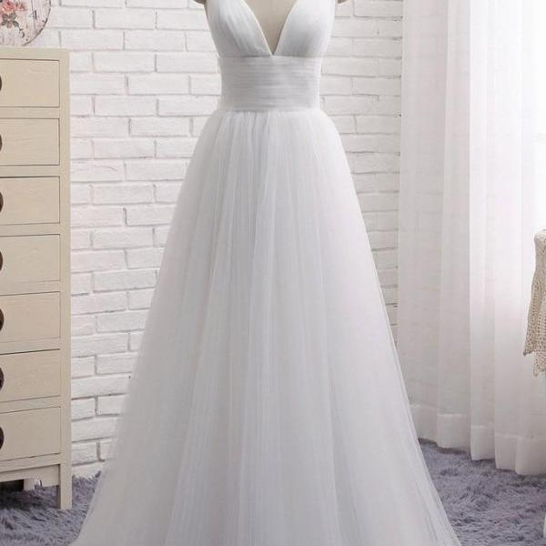 P1299 Spaghetti Straps V Neck A Line Long Tulle White Sexy Prom Dress,Long Formal Elegant White Sexy Evening Dress,Simple A Line White Tulle V Neck Evening Party Dress,White Tulle Formal Elegant Wedding Dress