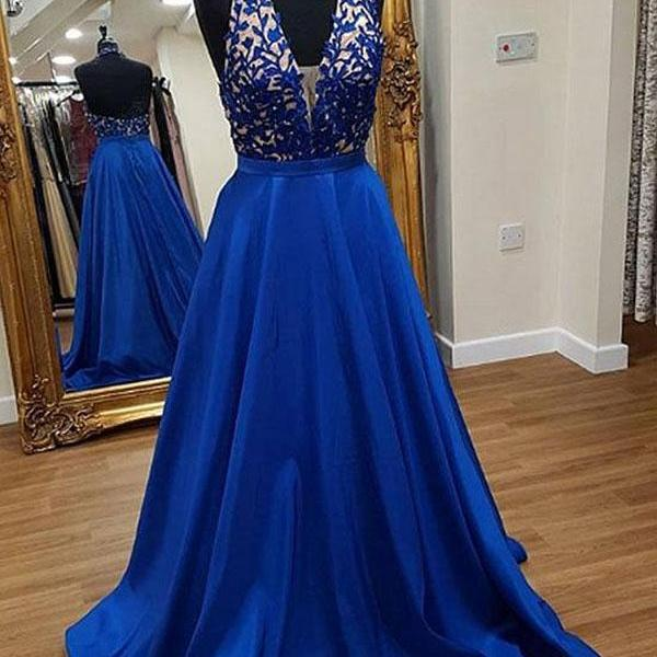 P1300 Stylish A-Line Halter Royal Blue Long Prom Dress,Halter Neck A Line Long Satin Royal Blue Sexy Evening Dress With Appliques,Top Lace Halter Neck A Line Formal Elegant Long Satin Sexy Wedding Party Dress Royal Blue Wedding Party Dress