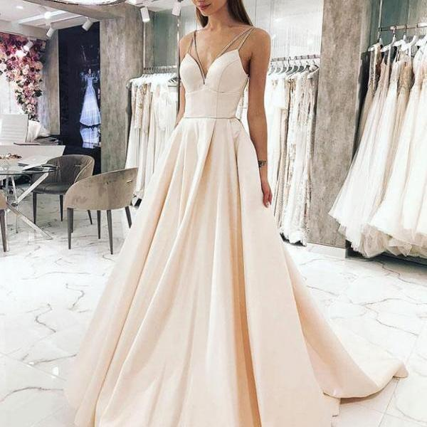 Simple v neck straps light champagne long prom dress,Gorgeous evening dress with sweep train